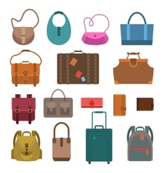 Bags colored icons set vector image