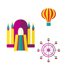 Balloon bouncy castle and ferris wheel icon set vector