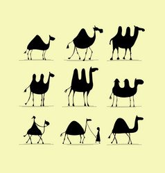 Camel set sketch for your design vector