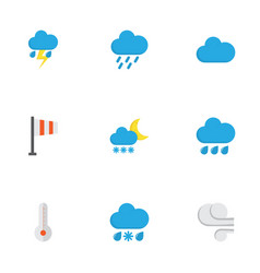 climate flat icons set collection of lightning vector image vector image