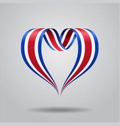 costa rican flag heart-shaped ribbon vector image vector image