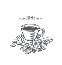 cup of coffee with cinnamon vector image vector image
