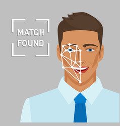 Facial recognition concept with male face vector