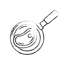 Figure delicious meat inside skillet pan vector