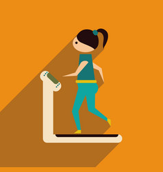 Flat web icon with long shadow girl treadmill vector