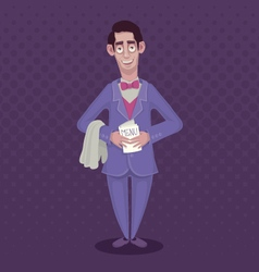 Funny waiter in a suit and a bow-tie with a menu vector