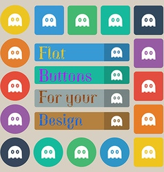 Ghost icon sign set of twenty colored flat round vector