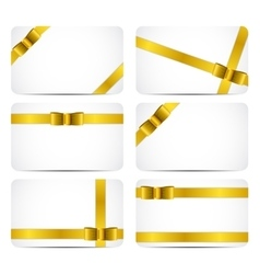 Gift card set with gold ribbon and bow vector