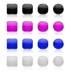 Glass buttons gray purple blue white web icons vector