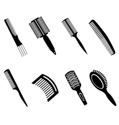 Hairbrushes silhouette icons vector