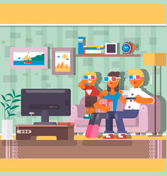 Happy family watching television together in house vector