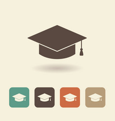 hat graduate flat icon vector image vector image