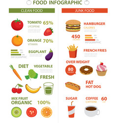Healthy and junk food infographic vector