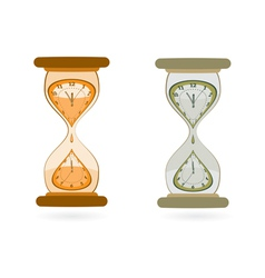 Hourglass with wall clocks vector