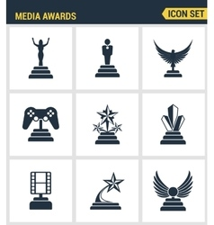 Icons set premium quality of media awards champion vector