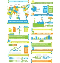 INFOGRAPHIC DEMOGRAP WORLD PERCENTAGE TOY vector image vector image