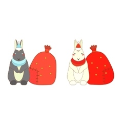 Isolated Christmas rabbits vector image vector image