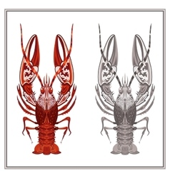 Isolated ornament crayfish in red and black color vector