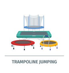 Jumping trampoline flat realistic icon vector
