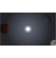 Outer space with planet of landscape vector