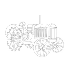 outline of the old tractor vector image