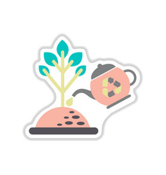 Paper sticker on white background watering trees vector