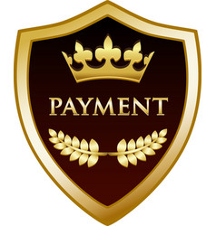 Payment gold shield vector