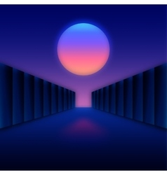 Retro futuristic digital landscape with moon and vector