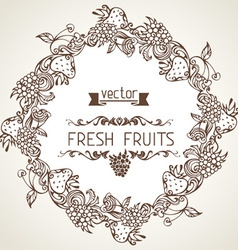 Round fruits frame vector image vector image
