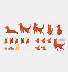 Set for creating a dog animation of emotions vector
