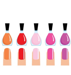 set of 5 nail polish vector image
