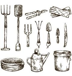 Set of gardening tools drawings vector image