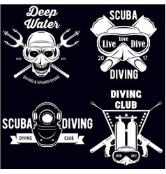 set of scuba diving club and diving school badges vector image vector image