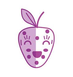 Silhouette kawaii cute happy strawberry fruit vector