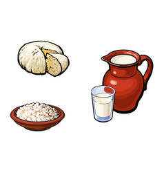 Sketch milk grlass jug cottage cheese set vector