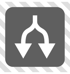 Split arrows down rounded square button vector