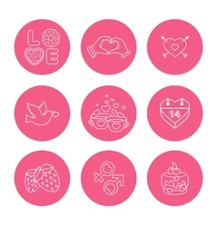 St Valentine Day icons thin line style flat vector image vector image