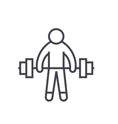 strong athlete lifting weights flat line vector image