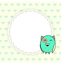 Template greeting card with hearts and owl vector image