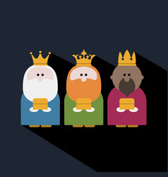 Three kings on epiphany day and a dark background vector