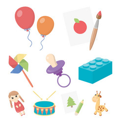 Toys set icons in cartoon style big collection of vector
