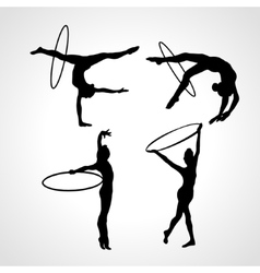 Gymnastic girls with hoops silhouettes collection vector