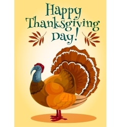 Thanksgiving day turkey greeting card design vector