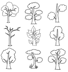 set of trees on white vector image