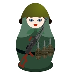 Matryoshka with Kalashnikov machine gun vector image