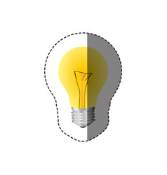 color sticker with silhouette with yellow bulb vector image