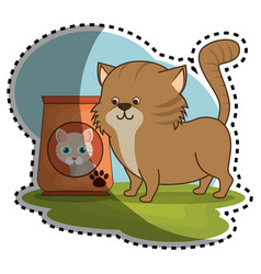 Cat food bag icon vector