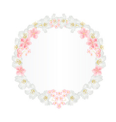 Floral round frame with jasmine and sakura vector