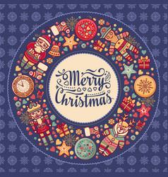 Merry christmas wreath with christmas toys vector