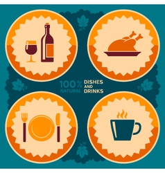 Restaurant poster design with food and drink icons vector